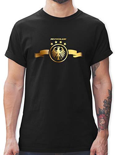Fussball EM 2021 Fanartikel - Deutschland Adler Gold - XL - Schwarz - Deutschland Trikot schwarz - L190 - Tshirt Herren und Männer T-Shirts