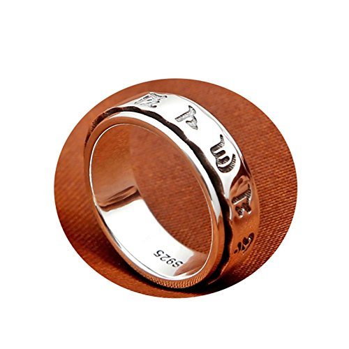 Cinnanal Rings Sterling Silver 925 Gothic Rings Women Six-Word Mantra Memoirslucky Spinner Ring for Chinese Style