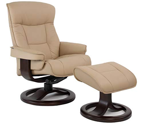 Fjords Bergen Large Ergonomic Leather Recliner Chair with Ottoman in Sandel NL 121 Nordic Line Leather with a Charcoal Wood Stain Base