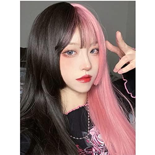 Zzalo Wig Peluca Femenina Larga Cabello Lolita Yin y Yang Cabeza Doble de Hechizo Degradado Peluca de Color Natural Natural Cabello Largo Recto (Incluido el Pelo) Lolitao
