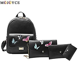 DingXiong 4Pcs/ Set Beige Black Women Backpack Butterfly Embroidery Zipper Flap Teenage Girls PU Leather