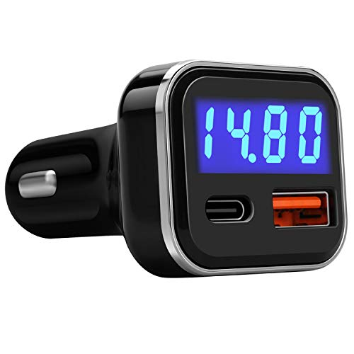 USB C Car Charger Adapter with Voltage Meter Battery Monitor, 30W Cigarette Lighter Type C Fast Charge Power Delivery & Quick Charge 3.0 with LED Display Compatible With iPhone 12, Galaxy S10, Pixel 4