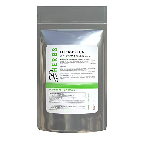 Herbal Uterus Tea, Ginger Root, Mullein Leaf, Stevia, and Vitex Berry (20 Bags)