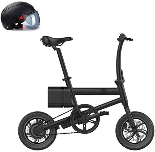 RDJM Bici electrica, 12'Peaturas, Bicicleta eléctrica de 36V / 6AH Ciudad, Bicicleta de montaña de Deporte de Bicicleta eléctrica con Asistencia 250W con batería de Litio extraíble, Negro