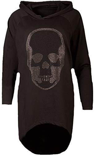 Fashion You Want Damen Totenkopf Pullover Glitzer Sweatshirt Pailletten Strass Stretch Oversize Shirt Langarm Shirt Hoodie vorne kurz hinten Lang Fishtail (schwarz, 46/48)