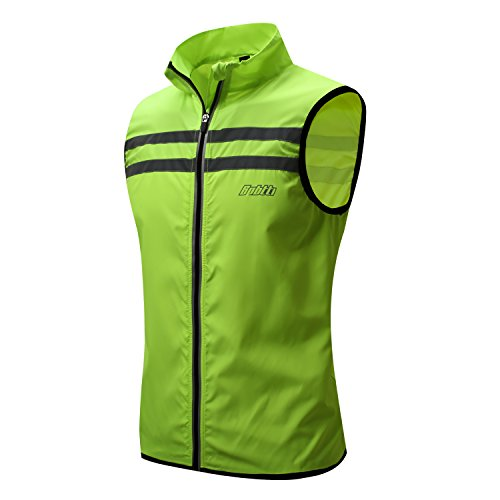 bpbtti Men's Hi-Viz Safety Running Cycling Vest - Windproof and Reflective (Small - Chest 36-38