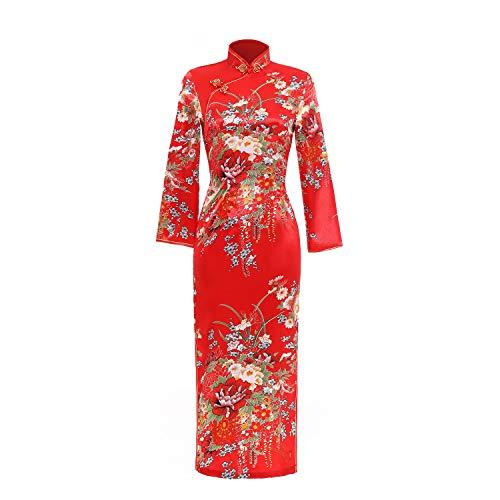 Shanghai Story Floral Dress Long Cheongsam Long Sleeve Qipao 2XL Red