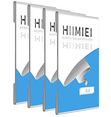 Soporte Adhesivo A4 de Carteles para Pared con 3M Tape, Acrílico Soporte de Exhibición Adhesivo de Pared, Soporte para Letrero Transparente sin Perforaciones (4 piezas)