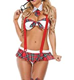 Scuola Ragazza Costume da Lingerie Babydoll Sexy Donna School Girl Uniform Costume Vestito da Lolita Cosplay Sexy Mini Top e Gonna Plaid a Pieghe