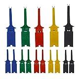 Senven 15 stücke Multimeter Draht Blei Test Haken Clip Elektronische Mini Test Sonde Set, Rot×3 Blau×3 Schwarz×3 Gelb×3 Grün×3 Für Repair Tool, pcb tester grabber, multimeter pinzette clip.