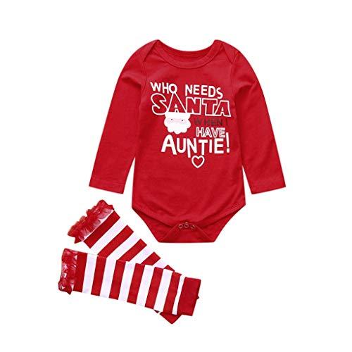 JWDYA Mameluco con Letras de Santa de Navidad para bebé Infantil, más Calentadores de piernas a Rayas, Ropa de Manga Larga, Mono de Primera Navidad para bebé (Size : 3-6 Months)