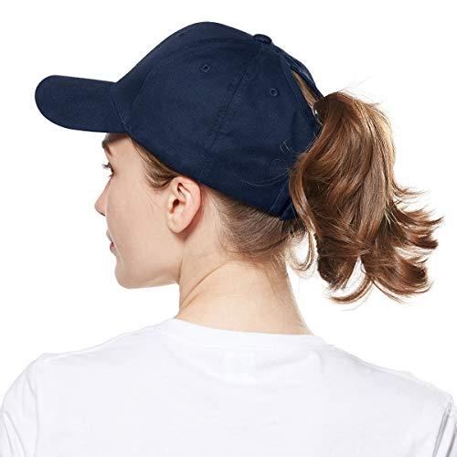 WELROG Dame Baseball Kappe Hip-Hop-Hut Verstellbar Baumwolle Pferdeschwanz (Navy blau)