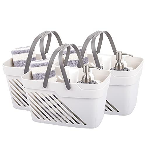 UUJOLY Organizador de plástico con asas, organizador de ducha para baño y cocina, champú, lavado corporal, artículos esenciales de ducha, maquillaje (3 unidades, blanco)