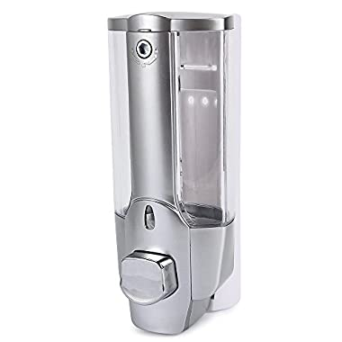 PARAMITA 350ml Kitchen Bathroom Wall-mounted Single-head Manual | Soap dispenser丨Liquid Soap Containers丨Hand Gel Dispenser 丨Use to Store Homemade Liquid Soap,Dish Soap,Body Wash (Silver)