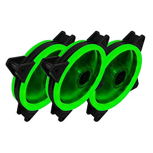3-Pack sin hilos del RGB LED de 120 mm de la caja del ventilador, silencioso Edición alto flujo de aire del ventilador LED Color del caso para los casos de PC, CPU Coolers, Sistema Radiadores,Green