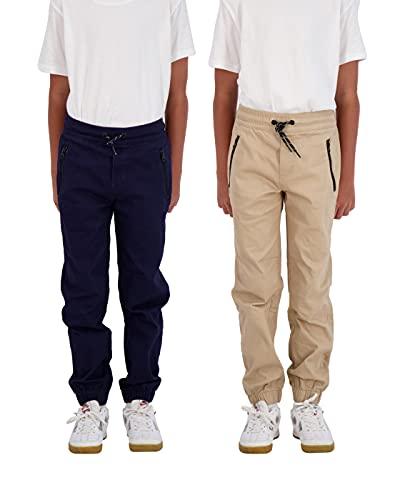 TONY HAWK Boys 2-Pack Twill Jogger Pants with Zipper Pockets Pull on Pants for Kids (Navy-Khaki, 14/16)