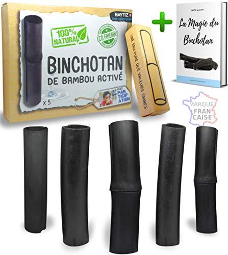 baytiz   Filtre à Eau Végétal au Charbon Actif de Bambou - Baton de Binchotan Bio x5 - Purifier l' Eau du Robinet - Bois Naturel Carafe Bouteille Vrai Purificateur Verre Filtrante Écologique Cadeau