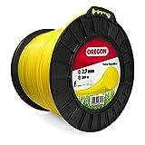 Oregon 69-383-Y Hilo de cortacésped redondo amarillo para cortadoras de césped y desbrozadora, 2,7 mm x 209 m, 2.7mm x 209m