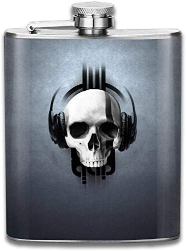 Eybfrre Stainless Steel Hip Flask 7 Oz (No Funnel) Skull Listen to Music Full Printed