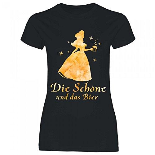 Royal Shirt a16 Damen T-Shirt Die Schöne und das Bier | Partyshirt Sprücheshirt Girlyshirt, Größe:M, Farbe:Black