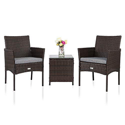 Bonnlo 3pc Wicker Patio Set, Rattan Sofa Set for Backyard, Outdoor Garden Cushioned Seat with Table, Bistro Table Set with Glass Top