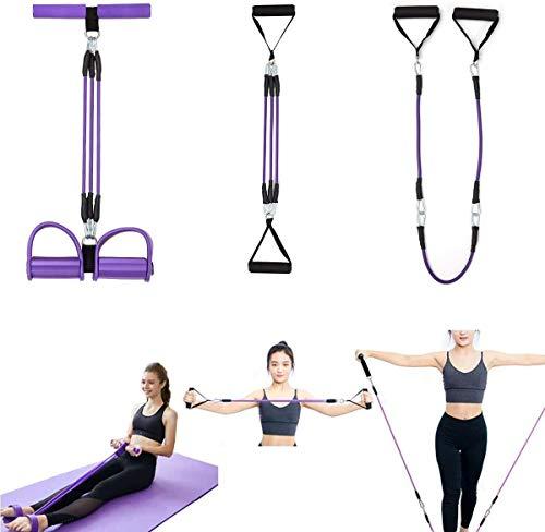 3 in 1 Fitnessgeräte Sit up Assist Aid Brust Expander Spannungsseil Abnehmen Training Yoga Pilates Kraft Multifunktionsübungswiderstandsbänder Set für Bauch Taille Arm Arm Bein Bauch