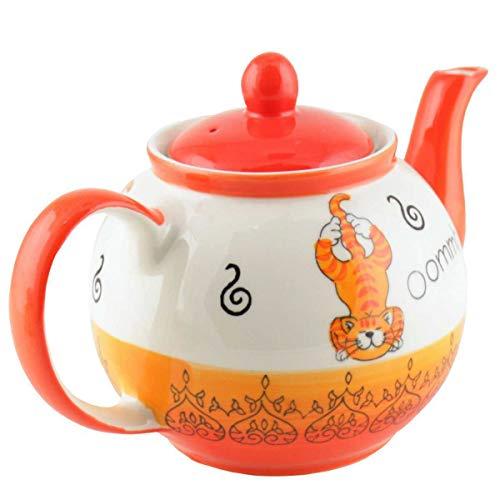 440s Mila Keramik-Tee-Kanne Oommh Yoga Katze ca. 1,2 Liter | MI-94212 | 4045303942127
