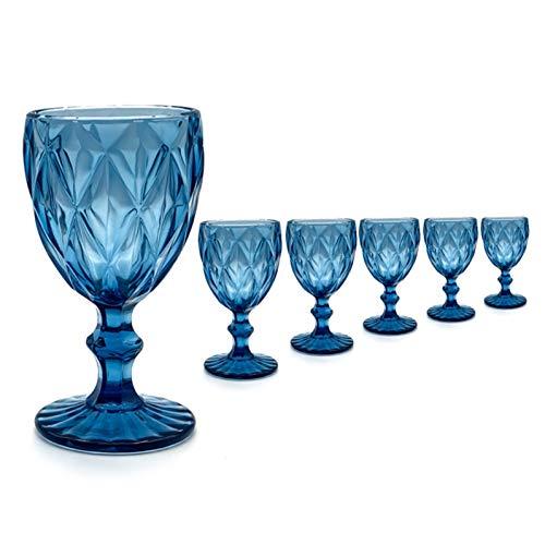 Mobiliario Factory Copa de Cristal Labrada Azul, Copa Tallada de Colores Pack de 6 Unidades