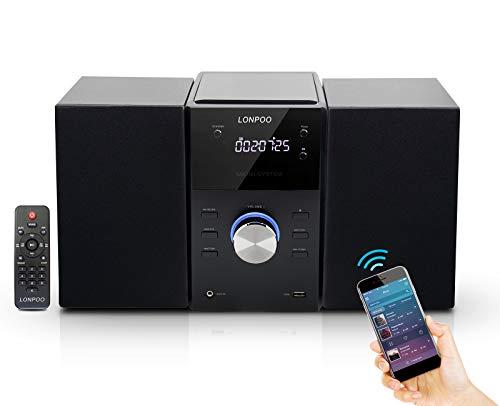 LONPOO Kompaktanlagen Micro-Stereoanlage System mit CD-Player, Bluetooth, UKW Radio, USB, AUX-in, mit Großes LED-Display und Knopf, Fernbedienung (Black)