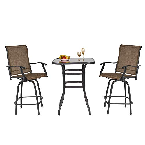 Outsunny 3 Piece Outdoor Patio Bar-Height Bistro Set with Comfort Sling Fabric, Steel Frame, & Weather-Fighting, Brown