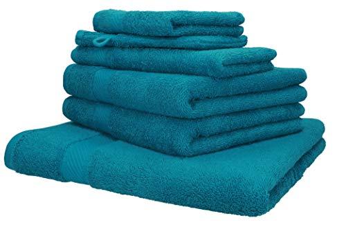 Betz Set di 6 Asciugamani di Palermo 100% Cotone 1 Asciugamano da Doccia 2 Asciugamani 1 Asciugamano per Ospiti 1 Lavette 1 Guanto da Bagno Colore Petrol