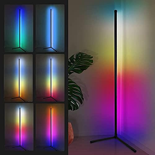 Lámpara de pie LED de 156 cm, regulable con mando a distancia, para salón, moderna, cambio de color RGB, negra, para habitación infantil, dormitorio, 18 W