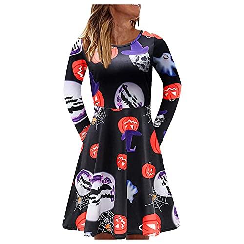 NHNKB Vestido de mujer para Halloween, con fantasma, calabaza y bruja, de manga larga, vestido de punto, informal, vestido midi plisado, A naranja., XL