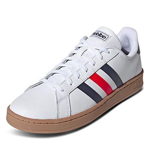 adidas Herren Grand Court Sneaker, Cloud White/Trace Blue/Active Red, 42 EU
