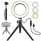 LED Ringlicht, 6' Ringleuchte mit Stativ, Selfie Licht mit Handyhalterung, 3 dimmbare Lichtmodi und 10 Helligkeitsstufen, für Selfie, Vlog, Live-Stream, Youtube und Videoaufnahme