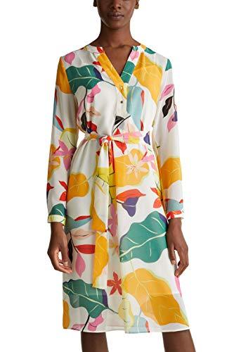 ESPRIT Collection Damen Esprit Kleid, 040EO1E313, Weiß(113/OFF WHITE 4), 38