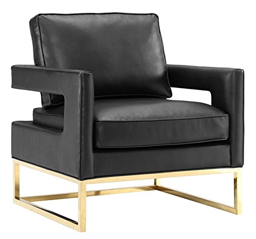 Tov Furniture The Avery Collection Modern Style Living Room Den Leather Upholstered Armchair with Gold Legs, Black