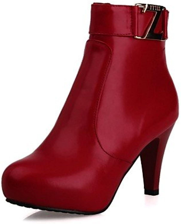 XZZ  Damenschuhe - Stiefel - Büro   Kleid - Kunstleder - Konischer Absatz - Rundeschuh   Modische Stiefel - Schwarz   Braun   Rot