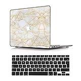 NEWCENT MacBook Air 13' Funda,Plástico Ultra Delgado Ligero Cáscara Cubierta EU Teclado Cubierta para Antigua MacBook Air 13 Pulgadas 2010-2017 Versión(Modelo:A1466/A1369),Mármol A 36