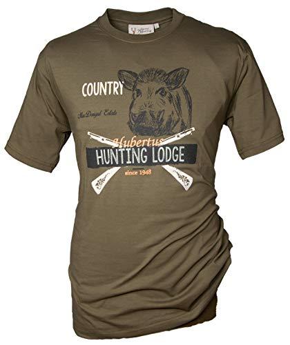 Hubertus T-Shirt Hunting Lodge Jagdshirt mit Motiv Rundhalskragen aus 100% Baumwolle Schilf mit angenehmber Passform oefele.de (L (52))