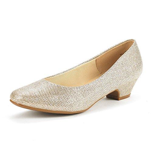 DREAM PAIRS Mila Damen Pumps mit Blockabsatz Schuhe Gold Glitter Größe 10 M US / 41 EU