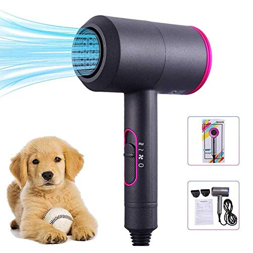X&MM Mascotas Secador De Pelo - Útiles De Limpieza para Perro Gato De Alta Potencia Secador De Pelo Y Estética para Mascotas, En Forma De T Ultra Silencioso De Diseño, De Secado Rápido