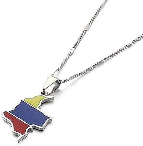 NC198 Collar, Collar, Acero Inoxidable, Esmalte, Mapa de Colombia, Colgante, Collar, Moda, Mujeres, Hombres, Bandera Colombiana, Mapa, joyería