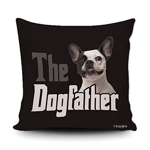 BAGEYOU The Dogfather Pet French Bulldog Throw Pillow Cover Dog Dad Funny Puppy Animal Pet Decor Home Couch Black Cushion Pillowcase 18x18 Inch Square