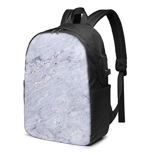 AOOEDM Laptop Backpack Marble Texture Water Resistant College School Bag with USB Charging Port