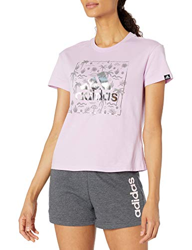adidas womens Foil Badge of Sport Graphic Tee Clear Lilac Medium