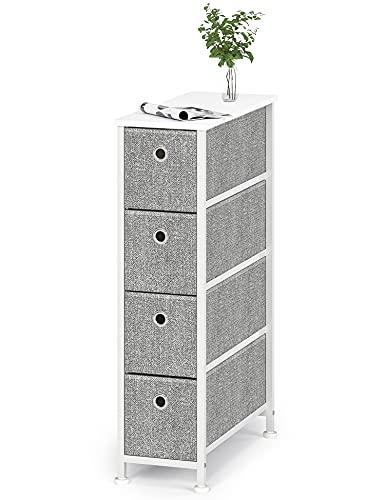 Cómoda Estrecho de Tela Cajonera de Almacenamiento Gabinete con 4 Cajones Vertical Almacenaje Armario Pequeño para Dormitorio Pasillo Entrada Trastero Salon Cocina Madera Metal Gris y Blanco