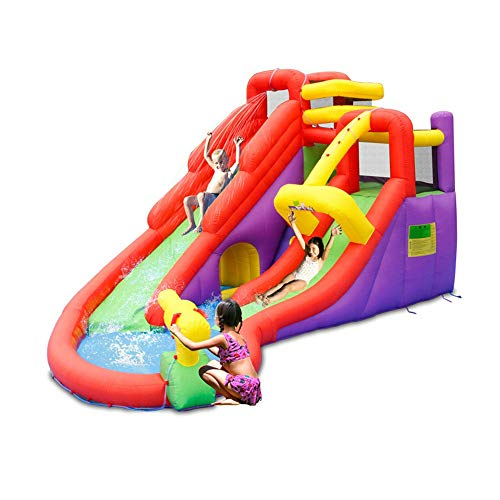 Kids Springkasteel Opblaasbare Kasteel Huis Water Park Trampoline Naughty Kasteel Kinderen Rotating Water Slide Trampoline (Color : Multi-colored, Size : 485x425x280cm)