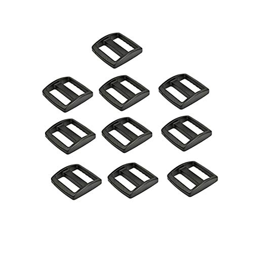 Flyshop 10 Pcs 1/2 13mm Black Plastic Triglide Slides Buckles for Cat Dog Collar Backpack Straps Webbing