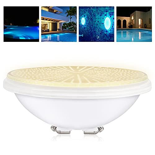 KWODE LED Poolbeleuchtung, 54W 3000K Par56 Poolscheinwerfer, 12V AC/DC Unterwasse Pool Light, Flach Schwimmbadleuchte, LED Leuchte für Schwimmbad, Poolleuchte Scheinwerfer (PC Resin Warmweiß)